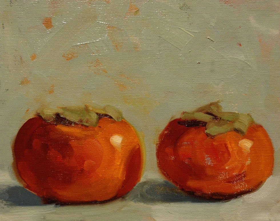 Two Persimmons / 7 x 8 1/2
